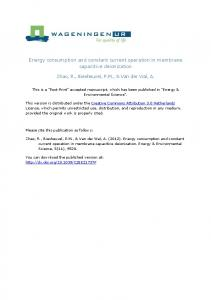 Energy consumption and constant current operation in membrane ...