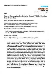 Energy Consumption Prediction for Electric Vehicles Based on ... - MDPI