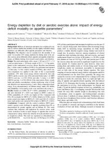 Energy depletion by diet or aerobic exercise alone - American Journal ...