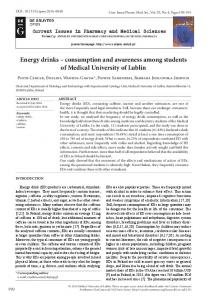 Energy drinks – consumption and awareness among ...