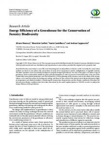 Energy Efficiency of a Greenhouse for the Conservation of Forestry ...