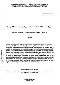 Energy Efficiency of large Cryogenic Systems: the LHC Case and ...