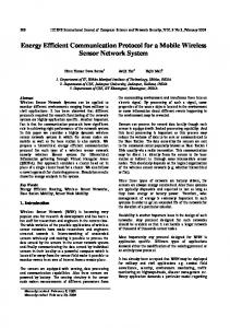 Energy Efficient Communication Protocol for a Mobile Wireless Sensor ...
