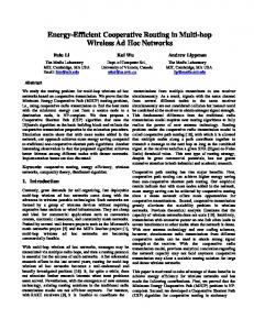 Energy-Efficient Cooperative Routing in Multi-hop Wireless Ad Hoc ...