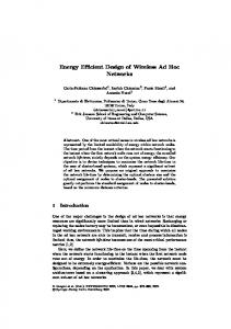 Energy Efficient Design of Wireless Ad Hoc Networks - CiteSeerX