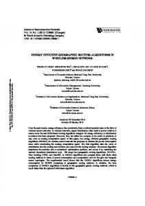 energy efficient geographic routing algorithms in ... - Semantic Scholar
