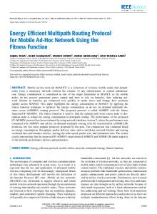 Energy Efficient Multipath Routing Protocol for Mobile ... - IEEE Xplore