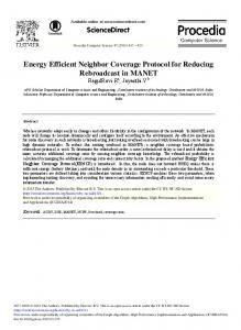 Energy Efficient Neighbor Coverage Protocol for ... - ScienceDirect.com