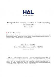Energy efficient resource allocation in cloud computing environments