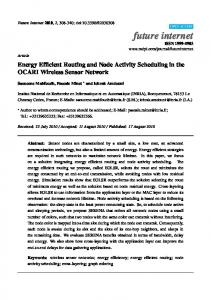 Energy Efficient Routing and Node Activity Scheduling in the ... - MDPI