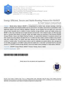 Energy Efficient, Secure and Stable Routing Protocol ... - Global Journals