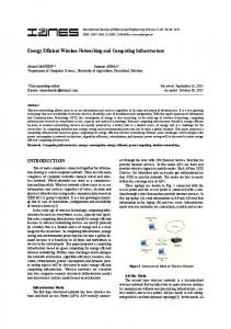 Energy Efficient Wireless Networking and ... - Semantic Scholar
