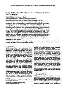 Energy for biologic sulfate reduction in a ... - Semantic Scholar