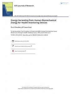 Energy Harvesting from Human Biomechanical