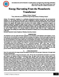 Energy Harvesting From the Piezoelectric Transformer - IJRASET