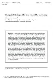 Energy in buildings - EPJ Web of Conferences