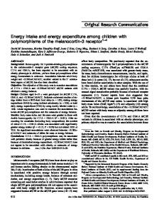 Energy intake and energy expenditure among children with ...