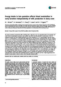 Energy intake in late gestation affects blood ... - Semantic Scholar