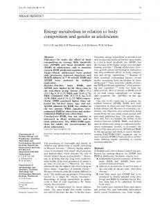 Energy metabolism in relation to body composition and gender ... - NCBI