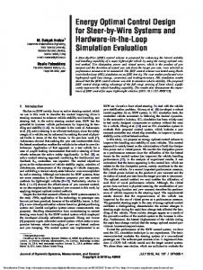 Energy Optimal Control Design for Steer-by-Wire ... - Semantic Scholar