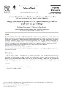 Energy Performance Optimization as a Generative Design Tool for ...
