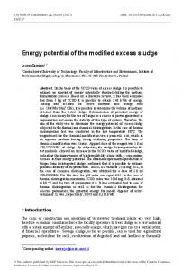 Energy potential of the modified excess sludge - E3S Web of ...