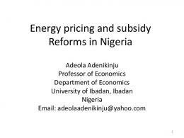 Energy pricing and subsidy Reforms in Nigeria - OECD.org