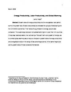 Energy Productivity, Labor Productivity, and Global Warming
