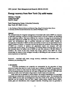 Energy recovery from New York City solid wastes - CiteSeerX