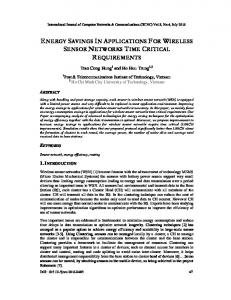 energy savings in applications for wireless ... - Aircc Digital Library
