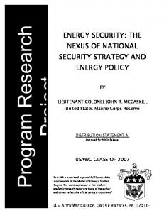 energy security: the nexus of national security strategy and energy policy