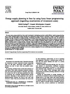 Energy supply planning in Iran by using fuzzy linear programming ...
