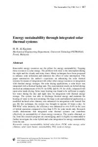 Energy sustainability through integrated solar thermal ...