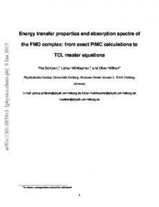 Energy transfer properties and absorption spectra of the FMO complex ...