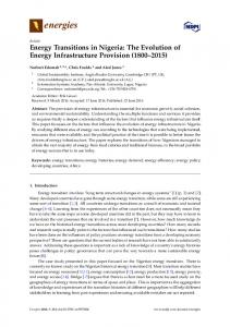 Energy Transitions in Nigeria - MDPI