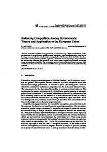 Enforcing Competition Among Governments: Theory ... - Springer Link