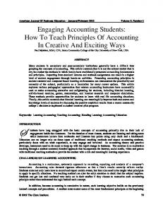 Engaging Accounting Students: How to Teach Principles of