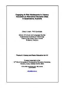 Engaging At Risk Adolescents in Literacy Education at ... - QUT ePrints