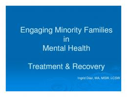 Engaging Minority Families in Mental Health Treatment & Recovery