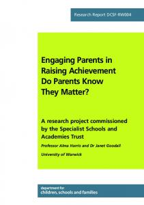 Engaging Parents in Raising Achievement Do Parents Know They ...