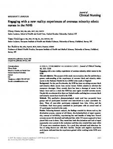 Engaging with a new reality: experiences of ... - Wiley Online Library