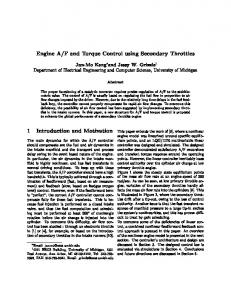 Engine AF and Torque Control using Secondary ... - EECS @ UMich