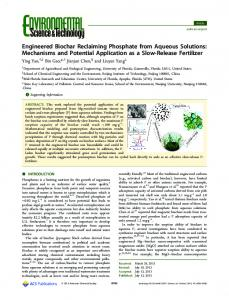 Engineered Biochar Reclaiming Phosphate from Aqueous Solutions ...