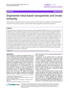 Engineered metal based nanoparticles and innate immunity