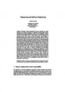 Engineering and Software Engineering - Science, Technology ...