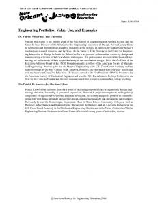 Engineering Portfolios: Value, Use, and Examples - Asee peer