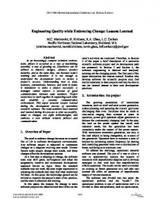 Engineering Quality while Embracing Change: Lessons Learned