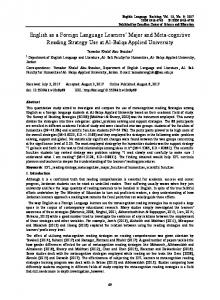 English as a Foreign Language Learners' Major and Meta ... - Eric