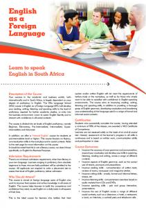 English as a Foreign Language - Wits Language School