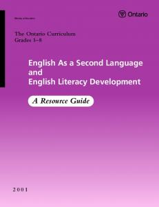 English As a Second Language and English Literacy ... - Ontario